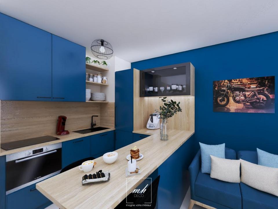Aménagement d'un appartement deux-pièces par MH DECO Salon-de-Provence